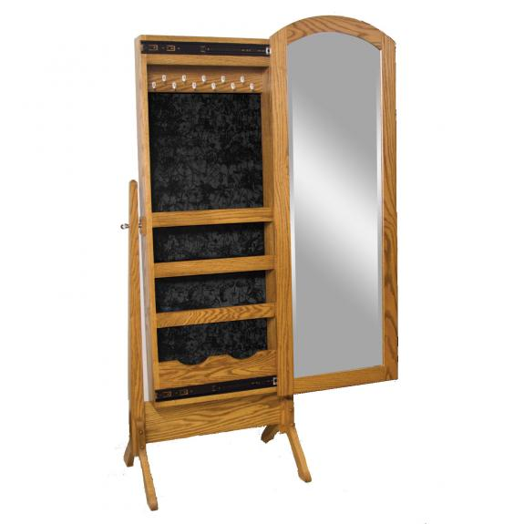 1012-101 Antique Shaker Cheval Mirror with Sliding Jewelry Box