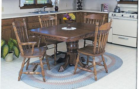 30 Single Pedestal Rounded Corner Dining Set