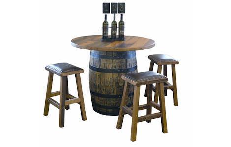 Barnwood Barrel Bar Table Set