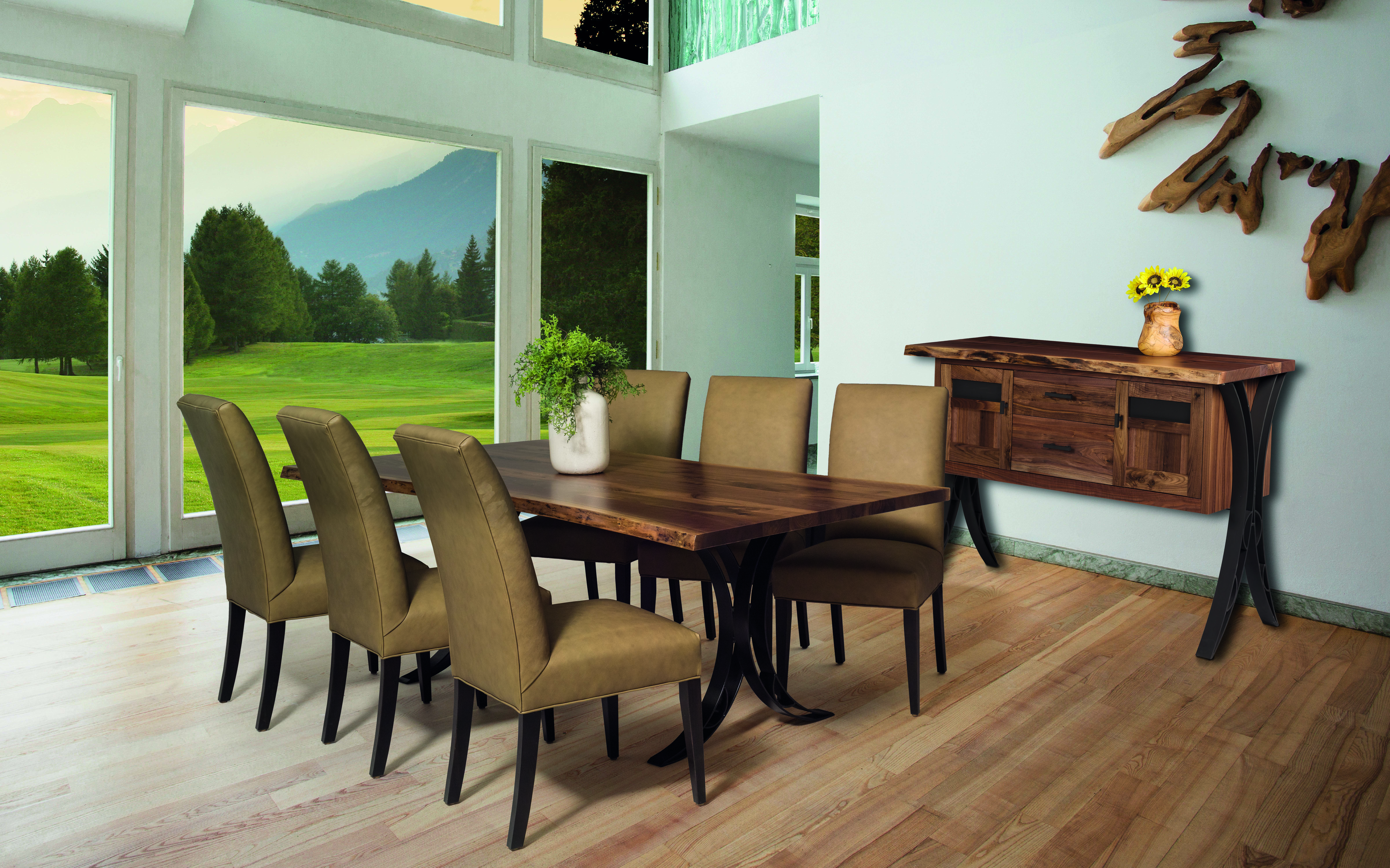 Rustic Dining Table With Steel Base Clear Creek Amish