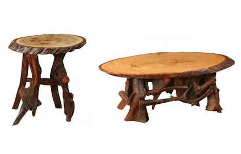 Rustic Oval Coffee and End Table