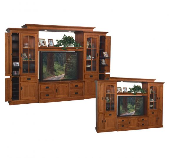 Mission Oak TV Wall Cabinet with Bridge