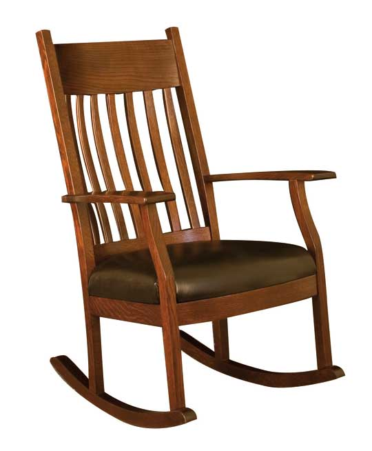 010 Oakland Bent Slat Leather Rocking Chair
