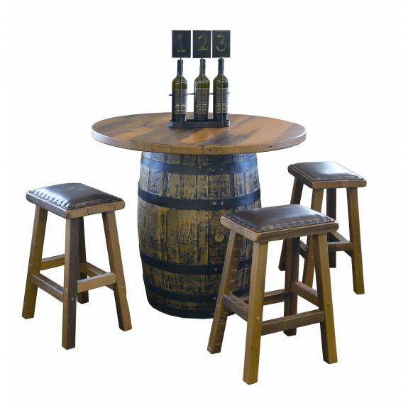 Barnwood Barrel Bar Table Set 181 Pub Table