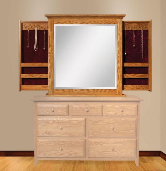 2425 Dresser Mirror with Sliding Jewelry Wings
