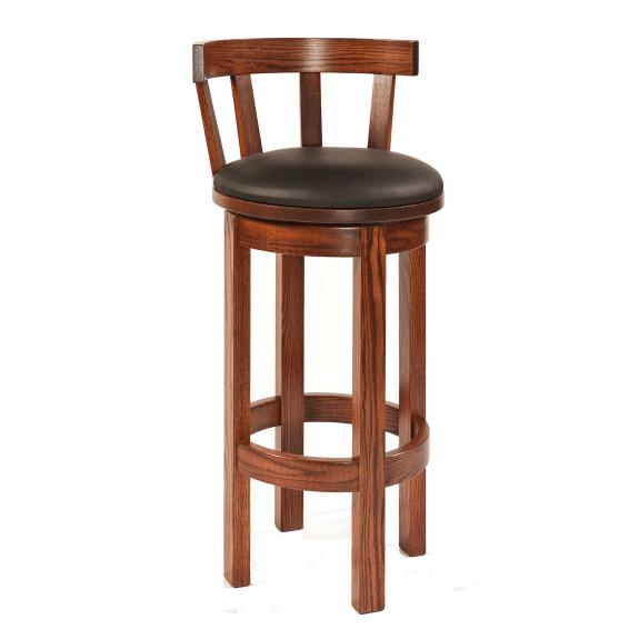 Barrel Bar Stool with Leather Seat
