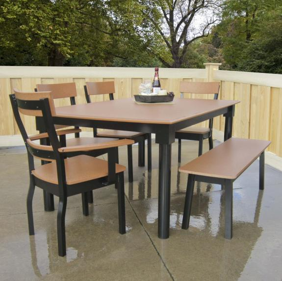 Poly Outdoor Dining Table with Bench