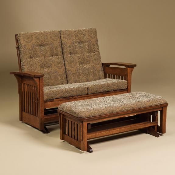 Double Bow Arm Glider with Ottoman