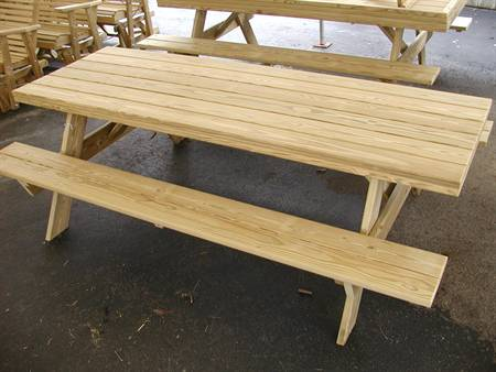 3X8 Traditional Picnic Table, treated pine.