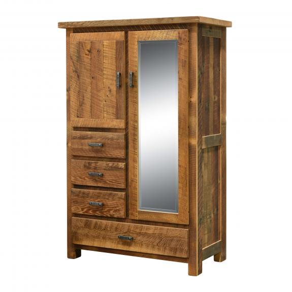 Bon Barnwood Farmhouse Bedroom Set 336 4 Drawer Armoire