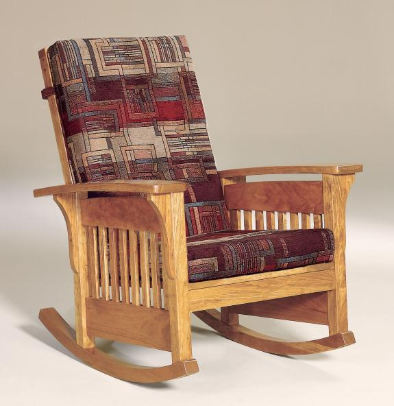 Bow Arm Slat Upholstered Rocking Chair