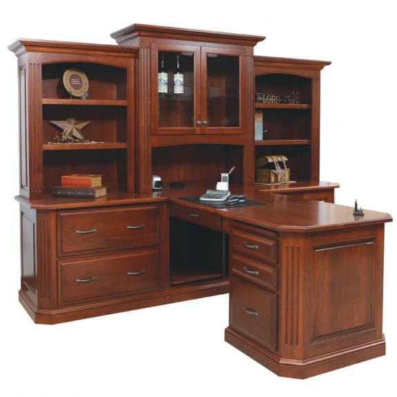 BUC-121 Buckingham Partner Desk and 3 Piece Hutch