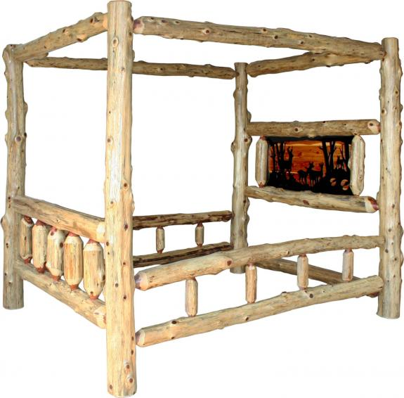 Red Cedar Log Bedroom Set Canopy Bed