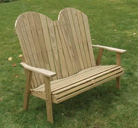 Adirondack Loveseat Bench, treated pine