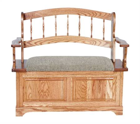AJW30136 Country Spindle Upholstered Storage Bench