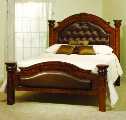 Empress Bedroom Furniture Mahogany Leather Bed