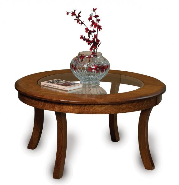 Sierra Coffee and End Tables FVCT-38 Glass Top Round Coffee Table