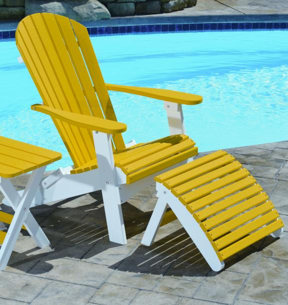 Poly Folding Adirondack Chair and Footstool