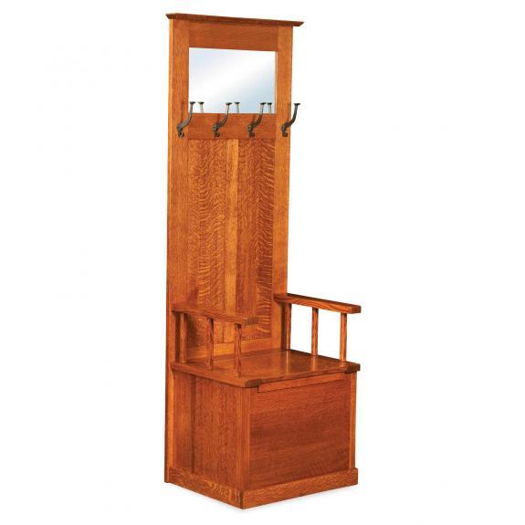 AJW20824 Heritage Mission Hall Tree Seat