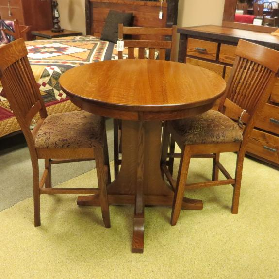Single Pedestal Mission Pub Table Clear Creek Amish
