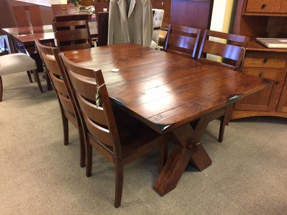 Portland Table, hand planed and burnt edge