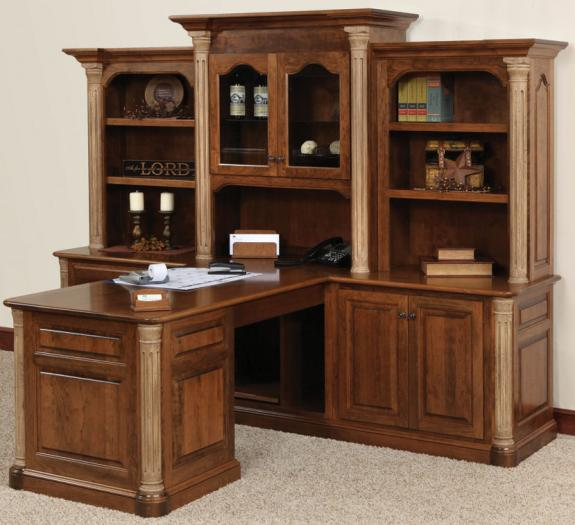 JEF-621 Jefferson Partner Desk and 3 Piece Hutch