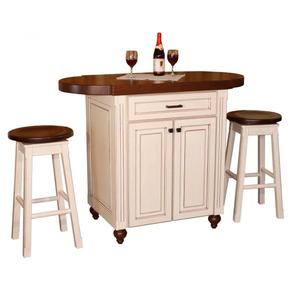 9450 Heritage Pub White Kitchen Island