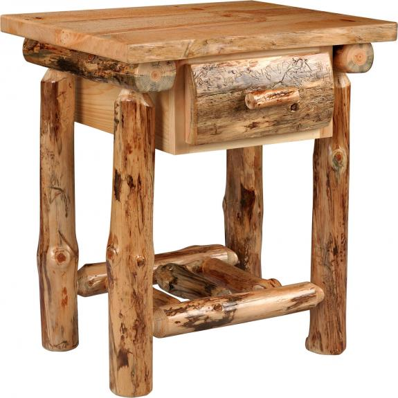 Lodge Pole Pine Set Log Nightstand