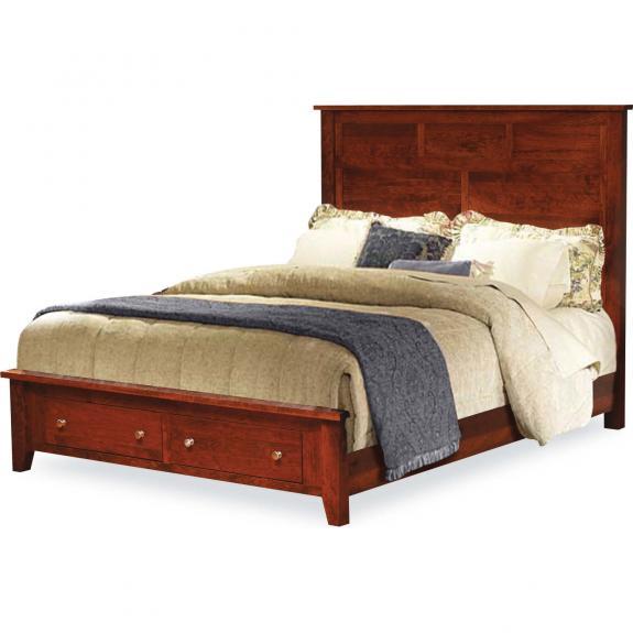 Olde Cottage Shaker Bedroom Set Queen Size Storage Bed