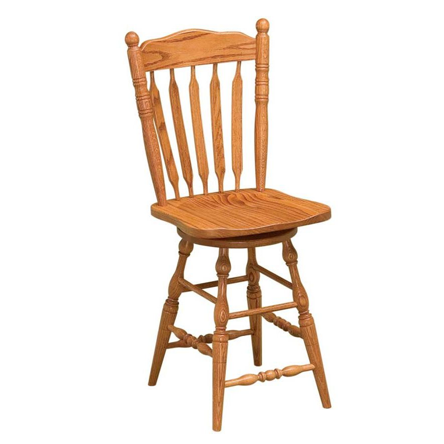 Post Paddle Oak Swivel Bar Stools Clear Creek Amish