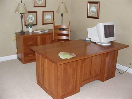 Cherry Executive Desk and Credenza