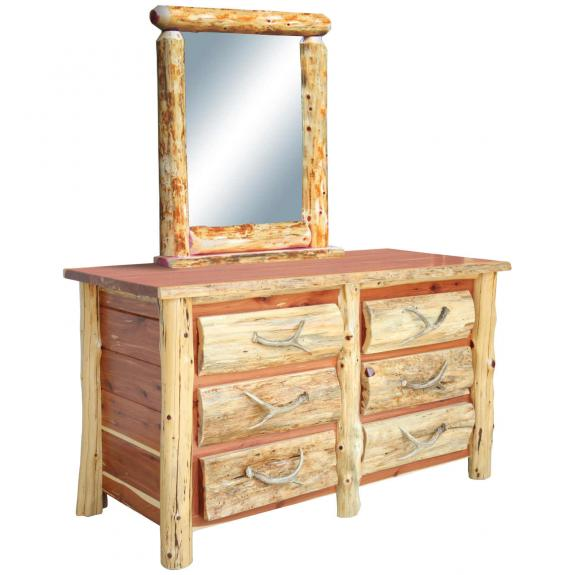 Red Cedar Log Bedroom Set 6 Drawer Dresser