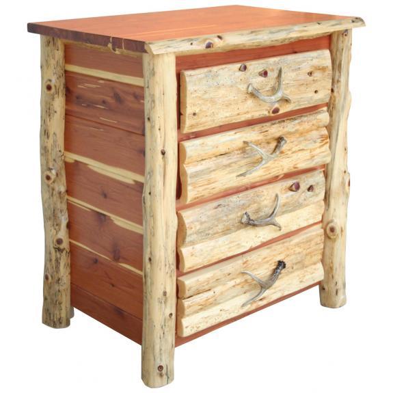 Red Cedar Log Bedroom Set 4 Drawer Chest