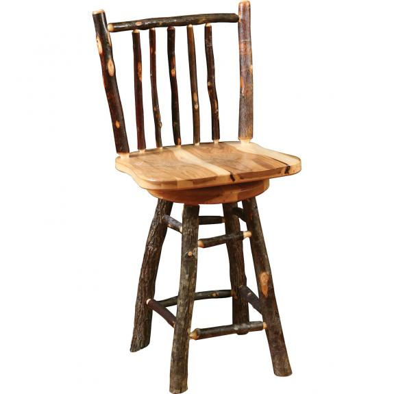 "Rustic 24"" Hickory Bar Stool"