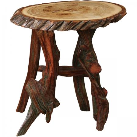 Rustic Oval Coffee and End Table Wood End Table