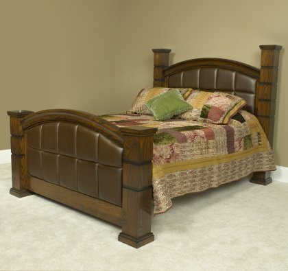 Stonehaven Bedroom Set Mahogany Leather Bed