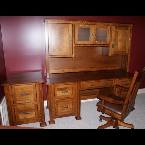 PKR-65-DH Parker executive desk with hutch top