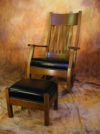 Mission Leather Rocking Chair and Footstool