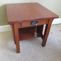 Mission style end table, cherry