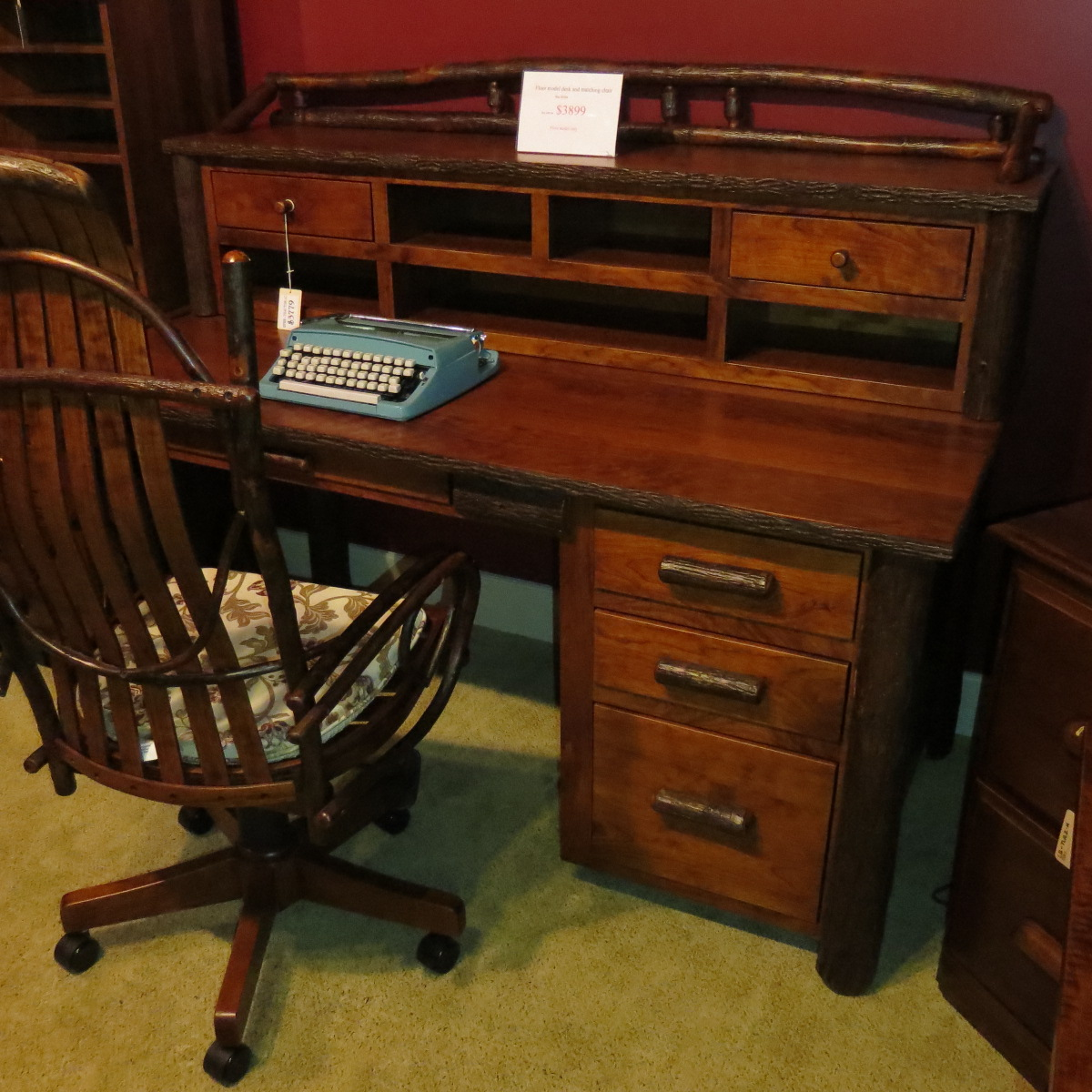 Top Rustic, Log Style, Desk | Clear Creek Amish Furniture  WV51
