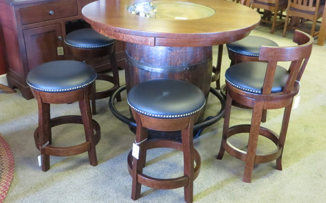 We have a very fun, new, product that we've added to our showroom display! It's a table made with a Whiskey Barrel!
