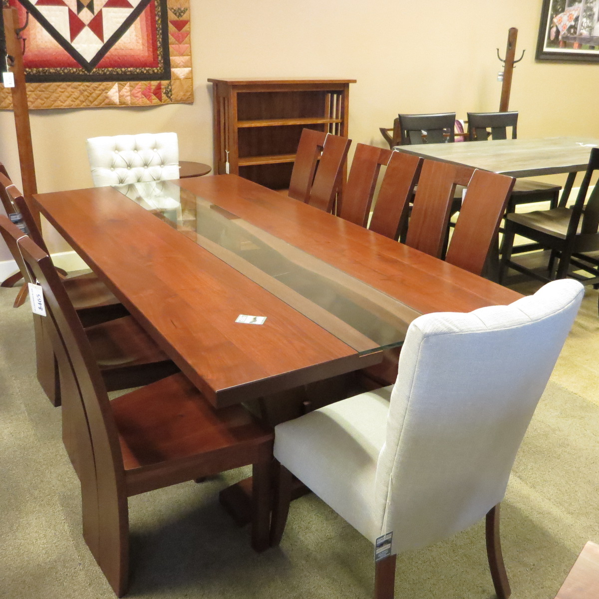 River Table Live edge on the inside with 8 chairs