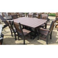 Outdoor poly dining set table 4 sides & 2 arm chairs