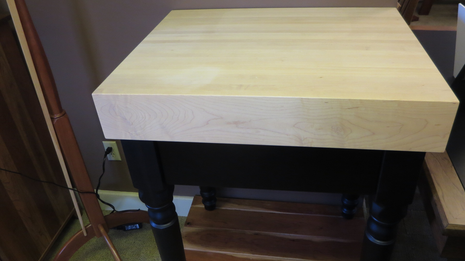 Hard maple chopping block with drawer