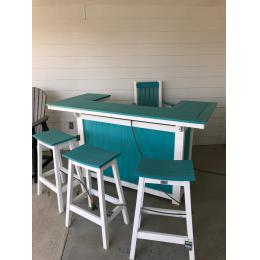 Oudoor poly bar with 3 saddle stools and one bar chair with arms.