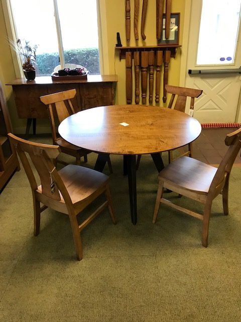 Bergen 48″ round table,  4 chairs and Buffet