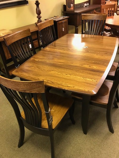 Agatha Christy Table 6 chairs and buffet in Elm and brown maple
