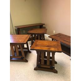Rustic Quarter sawn white oak set of occasional tables
