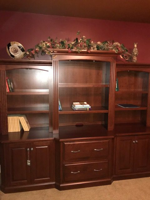 101″ cherry office wall unit