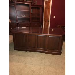 "72"" Cherry executive desk with 101"" cherry office wall unit"